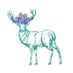 Hirsch mit blauen Blumen